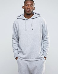 Asos Loungewear Oversized Hoodie In Towelling With Turn Up Cuffs Grey Marl