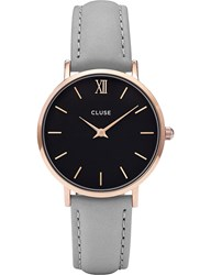 Cluse Cl30018 Minuit Leather Watch Silver Black