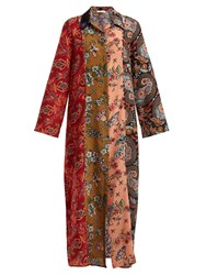 Anjuna Augustina Panelled Silk Crepe Dress Red Multi