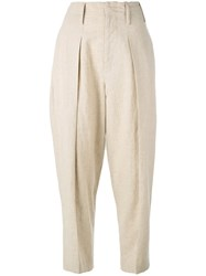 Y's Wide Leg Tapered Trousers Women Cotton Linen Flax Cupro 3 Nude Neutrals