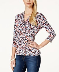 Charter Club Crossover Wrap Top Abstract Floral Print
