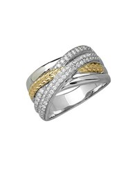 Lord And Taylor Diamond Sterling Silver And 14K Yellow Gold Crisscross Ring