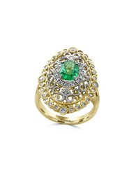 Effy Brasilica Diamonds Emerald 14K White Gold And 14K Yellow Gold Scrollwork Ring
