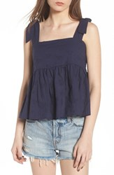 Bp. Embroidered Peplum Tank Navy Peacoat