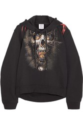 Vetements Printed Cotton Blend Jersey Hooded Top Black