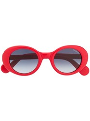 Moncler Eyewear Oval Sunglasses Red