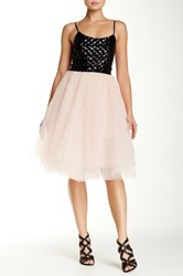 Trixxi Sequined Strappy Bodice Ballerina Skirt Homecoming Dress Juniors Pink