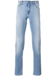 Dolce And Gabbana Palm Embroidered Jeans Blue