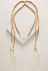 Anthropologie Suede And Jasper Bolo Necklace Taupe