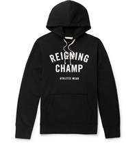 Reigning Champ Logo Print Loopback Cotton Jersey Hoodie Black