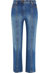 Valentino High Rise Faded Straight Leg Jeans Mid Denim