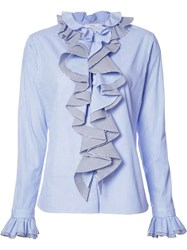 Tome 'Thin Stripe Longsleeved Ruffled' Shirt Blue