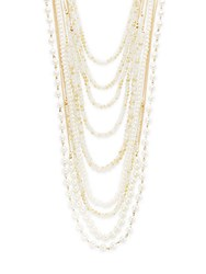 Natasha Faux Pearl And Chain Multi Strand Necklace Gold Ivory