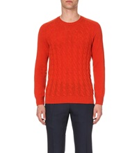Slowear Cable Knit Wool Jumper Orange