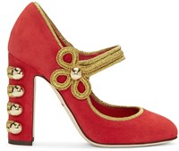 Dolce And Gabbana Red Suede Military Mary Jane Heels