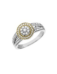 Lord And Taylor Diamond Ring In Sterling Silver With 14K Yellow Gold Silver Yellow Gold