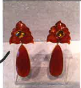 Bahina 18K Yellow Gold Earstuds With Carnelian And Citrine Red