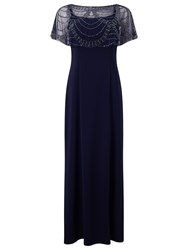 Jacques Vert Beaded Shawl Maxi Dress Navy