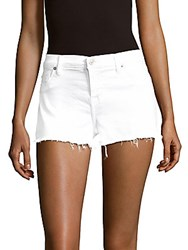 Hudson Jeans Cotton Blend Frayed Cuff Denim Shorts White
