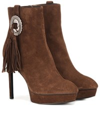 Saint Laurent Janis 80 Concho Suede Ankle Boots Brown
