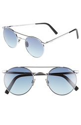 Randolph Engineering 'Shadow' Retro Sunglasses Bright Chrome Navy