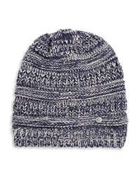 Modena Ribbed Marled Knit Beanie Navy Blue
