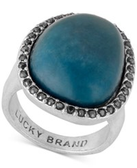 Lucky Brand Silver Tone Pave Blue Stone Statement Ring