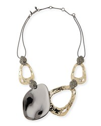 Alexis Bittar Link Rocky Pyrite Crystal Accent Ruthenium Tone Necklace Gold
