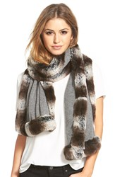 Badgley Mischka Faux Fur Trim Wrap Grey