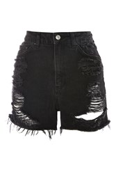 Topshop Tall Rip Longline Mom Shorts Washed Black