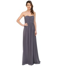 Donna Morgan Stephanie Strapless Chiffon Gown Charcoal Women's Dress Gray