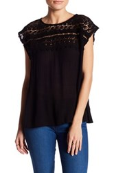 Willow And Clay Cap Sleeve Crochet Shirt Black