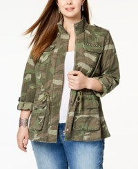 Inc International Concepts Plus Size Cotton Camouflage Jacket Created For Macy's Olive Drab