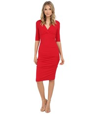 Nicole Miller Joss Ponte Ruched Dress Lipstick Red Women's Dress