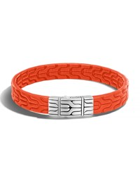John Hardy Classic Chain Men's Leather Bracelet Silver Orange