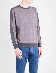 Canali Birdseye Knitted Wool Jumper Grey