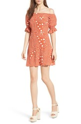 The Fifth Label Peppers Polka Dot Off Shoulder Dress Rust Pebble