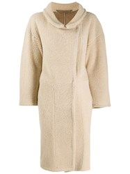 Salvatore Santoro Long Shearling Coat Neutrals