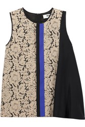 Msgm Paneled Guipure Lace And Crepe De Chine Top Beige