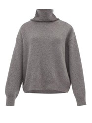 Raey Cropped Displaced Sleeve Roll Neck Wool Sweater Grey
