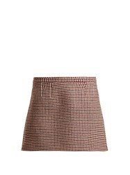Red Valentino Houndstooth Wool Blend Mini Skirt Red Multi