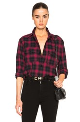 Saint Laurent Plaid Tartan Oversize Shirt In Red Checkered And Plaid