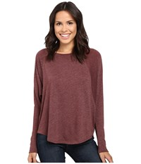 Lilla P Peached Knit Easy Scoop Neck Raglan Mahogany Women's Clothing
