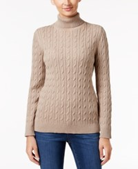 Charter Club Cable Knit Turtleneck Sweater Only At Macy's Taupe Heather