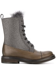 Brunello Cucinelli Lace Up Boots Grey