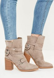 Missguided Nude Vamp Strap Heeled Ankle Boots Taupe
