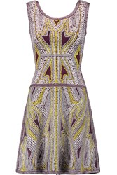 Herve Leger Flared Jacquard Knit Mini Dress Purple