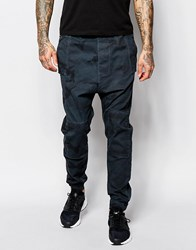 Asos Drop Crotch Joggers In Teal Camo Twill Overdye Teal Green