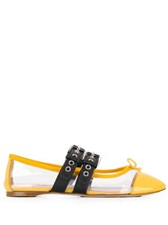 Miu Miu Buckled Ballerinas Yellow