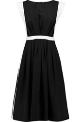Vionnet Duchesse Satin Trimmed Cotton Blend Faille Dress Black